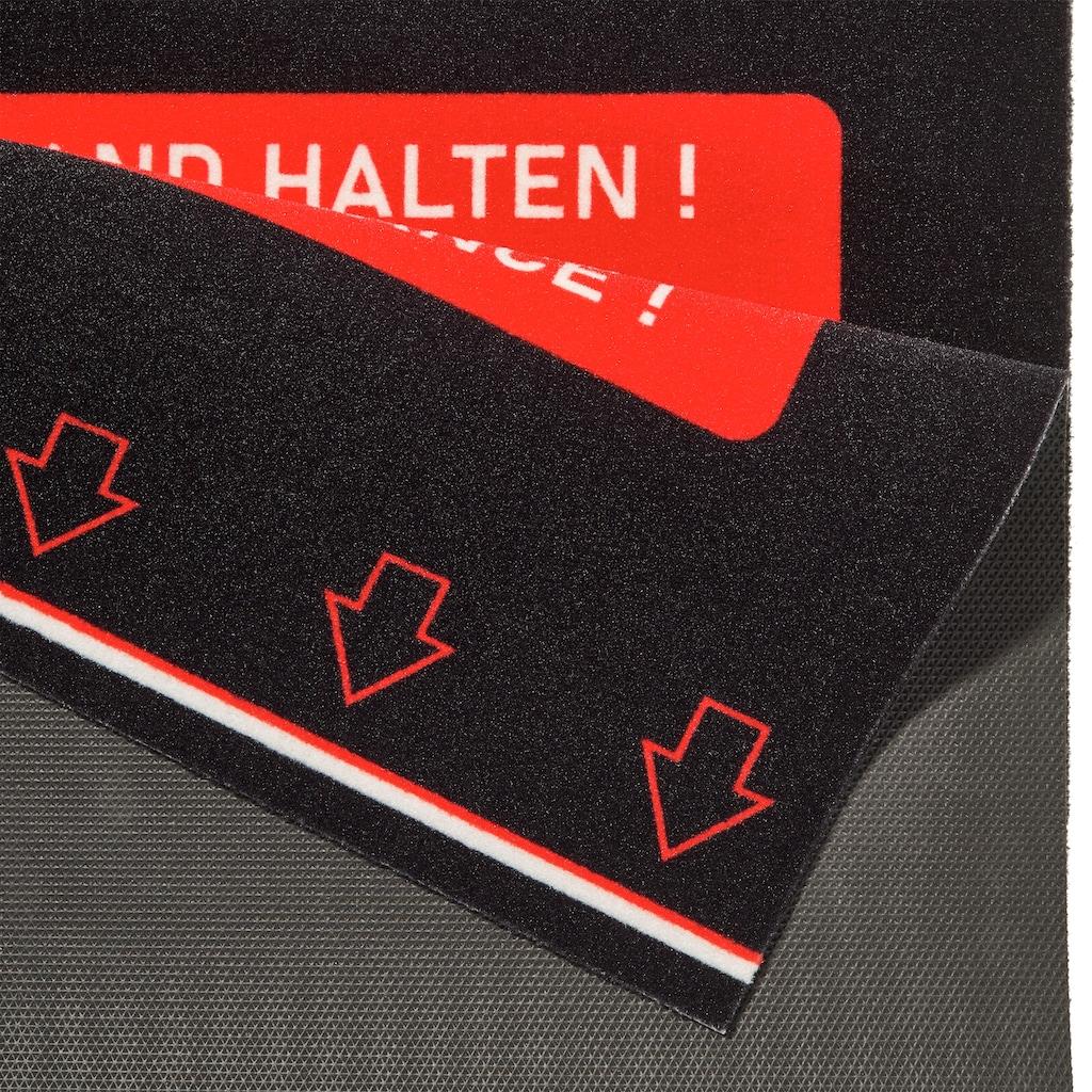 HANSE Home Fußmatte »Sicherheitsabstand«, rechteckig, 5 mm Höhe, Schmutzfangmatte, mit Spruch, In- und Outdoor geeignet, Bitte Abstand halten!