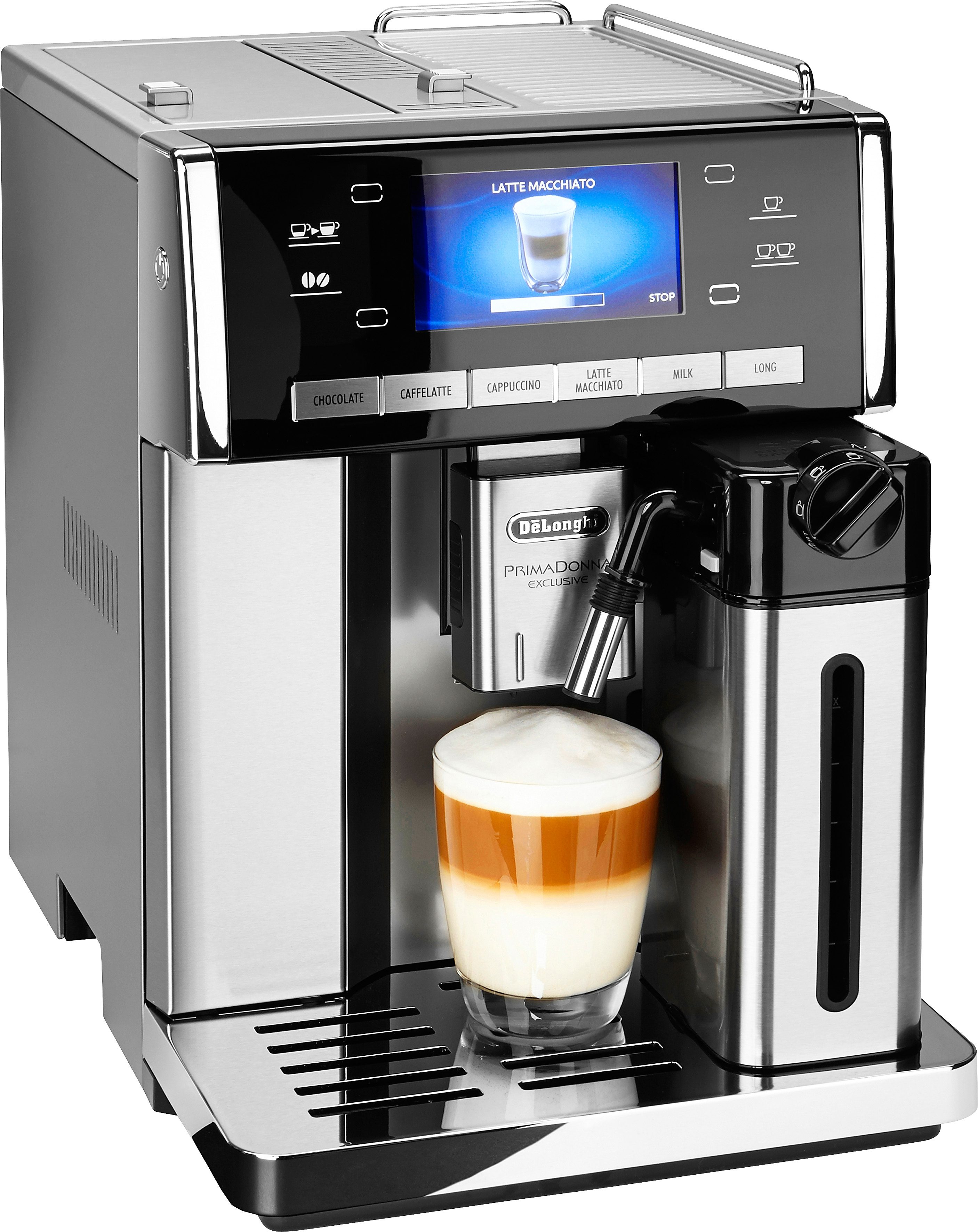 De´Longhi Kaffeevollautomat PrimaDonna Exclusive ESAM 6900.M, 1,4l Tank, Kegelmahlwerk | Küche und Esszimmer > Kaffee und Tee > Kaffeevollautomaten | Silberfarben | DELONGHI