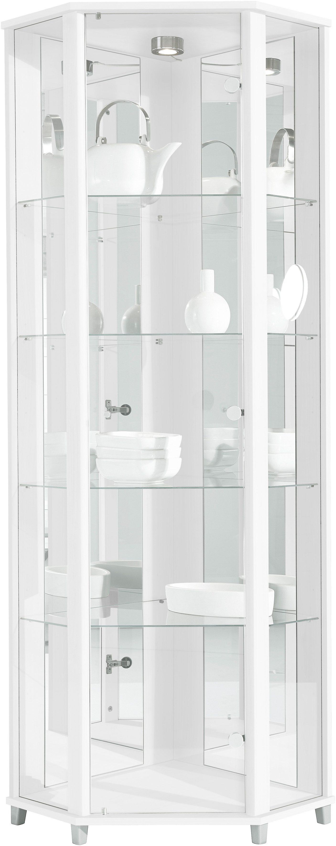 Eckvitrine, Höhe 172 cm, 4 Glasböden | Wohnzimmer > Vitrinen > Eckvitrinen | Weiß | Melamin | QUELLE