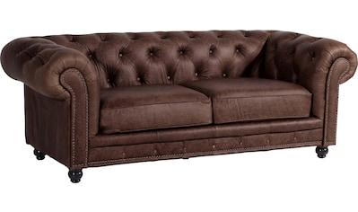 Max Winzer® Chesterfield-Sofa »Old England«, 2,5-Sitzer Ledersofa mit Knopfheftung & Ziernägeln, Breite 218 cm kaufen