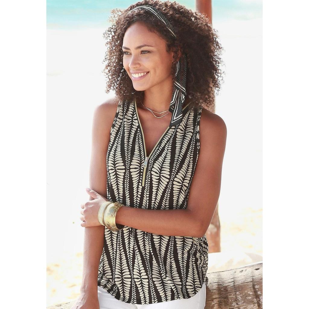 LASCANA Strandtop, mit Zipperdetail