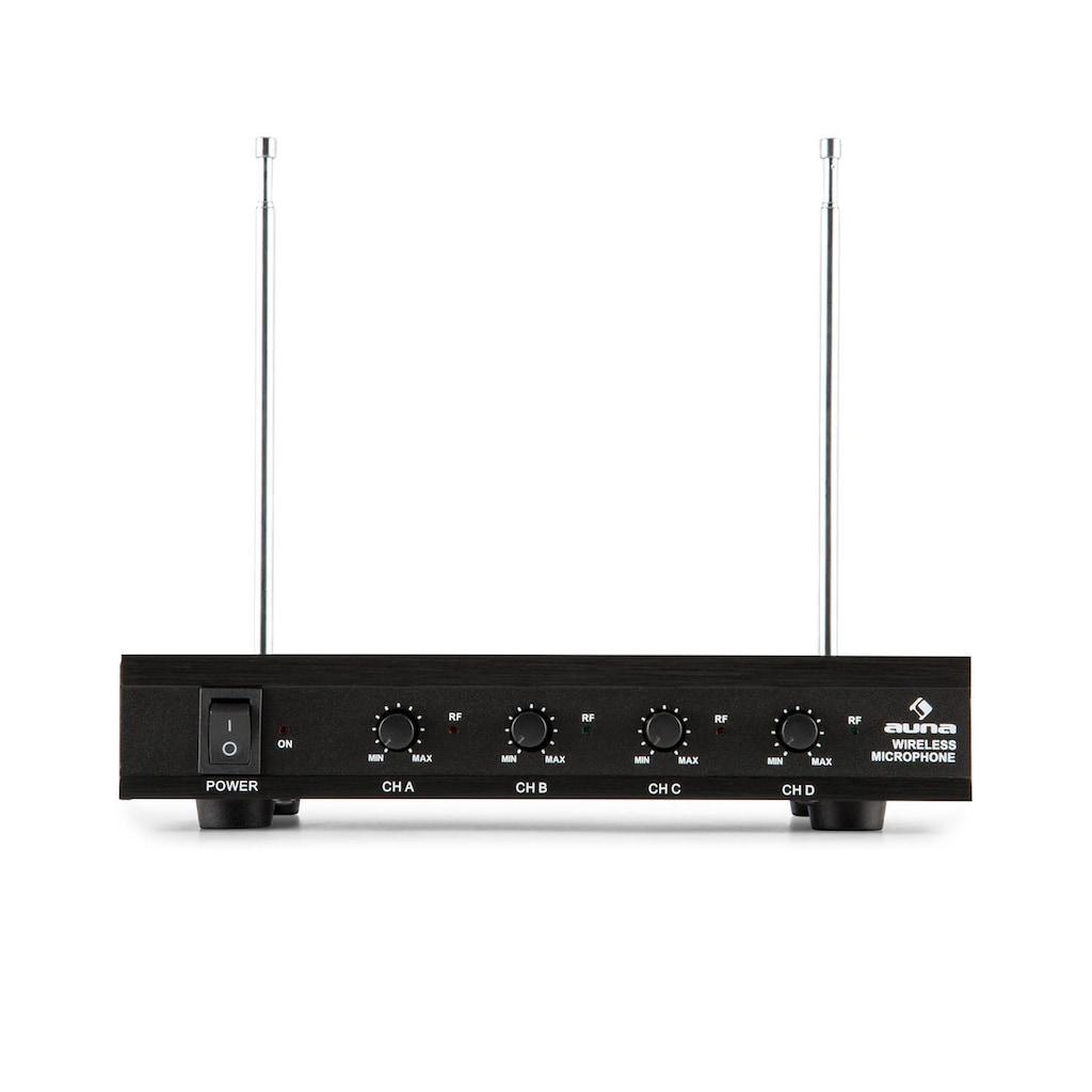 Auna 4-Kanal-VHF-Funkmikrofon Set 4xHandmikrofon 100m