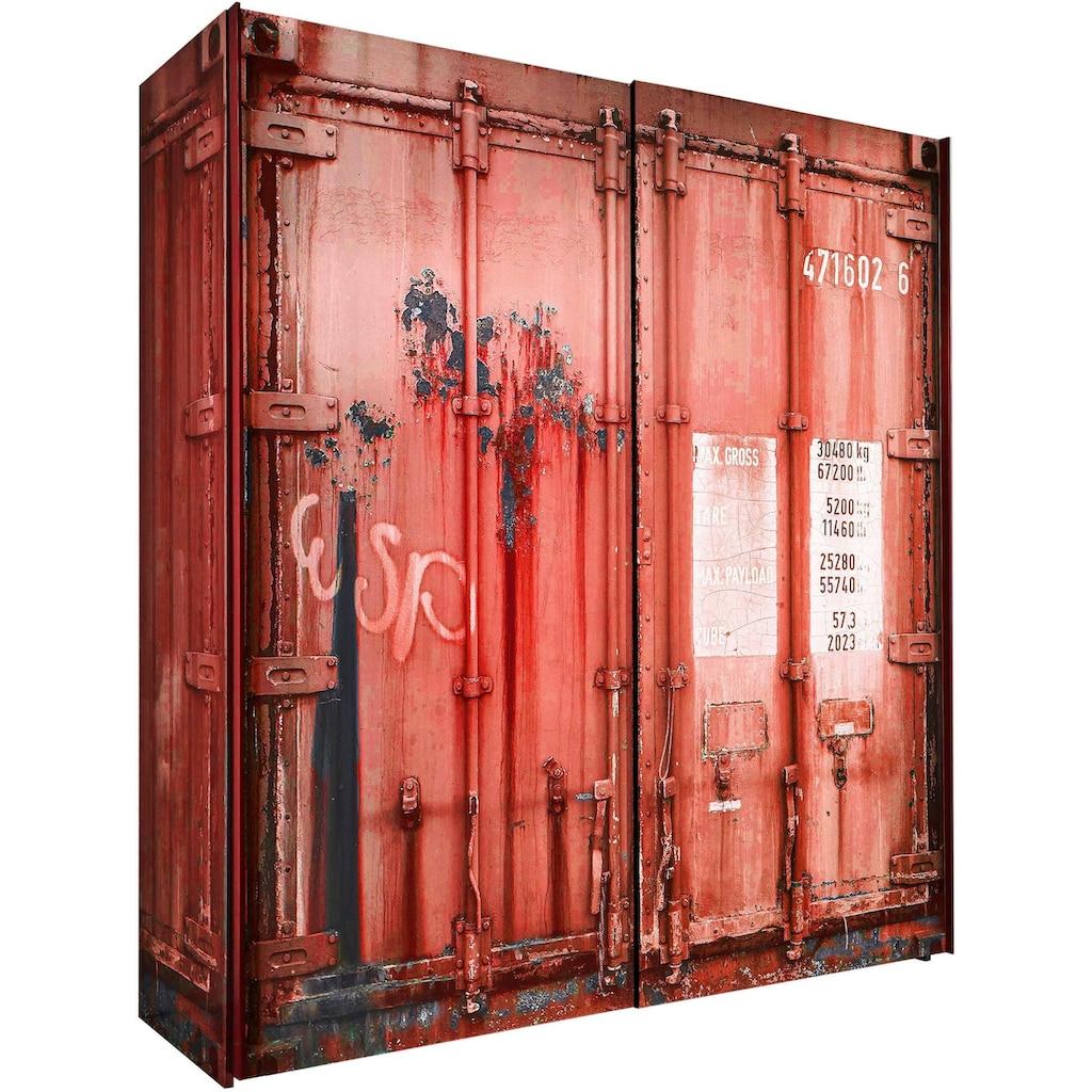 Begabino Schwebetürenschrank, in Container-Optik