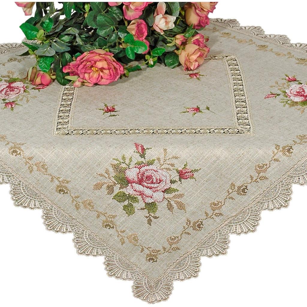 Delindo Lifestyle Mitteldecke »Rosenblüten«, Strukturiertes Gewebe, bestickt