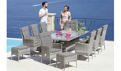 KONIFERA Gartenmöbelset »Belluno«, 17 - tlg., 8 Sessel, Tisch 200x100 cm, Polyrattan kaufen