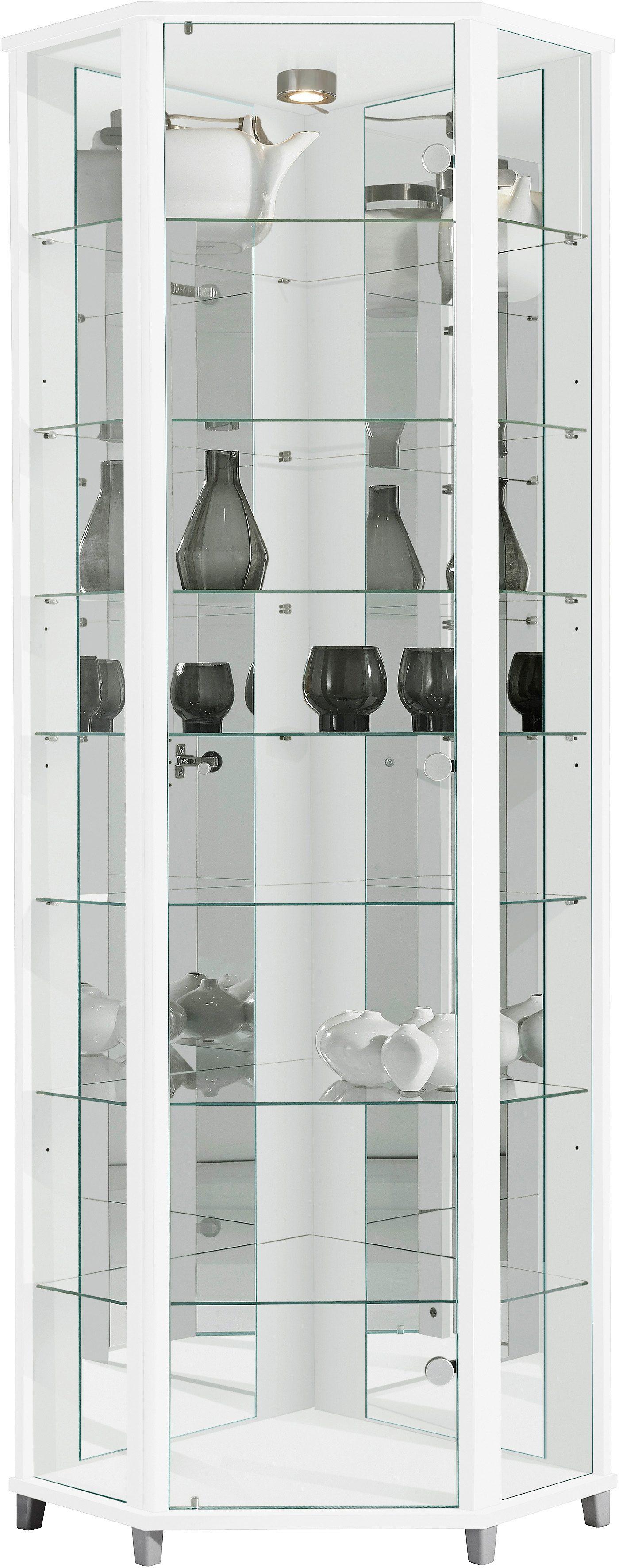 Eckvitrine, Höhe 172 cm, 7 Glasböden | Wohnzimmer > Vitrinen > Eckvitrinen | QUELLE