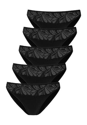Vivance Bikinislip, (5 St.), mit floraler Spitze vorn kaufen