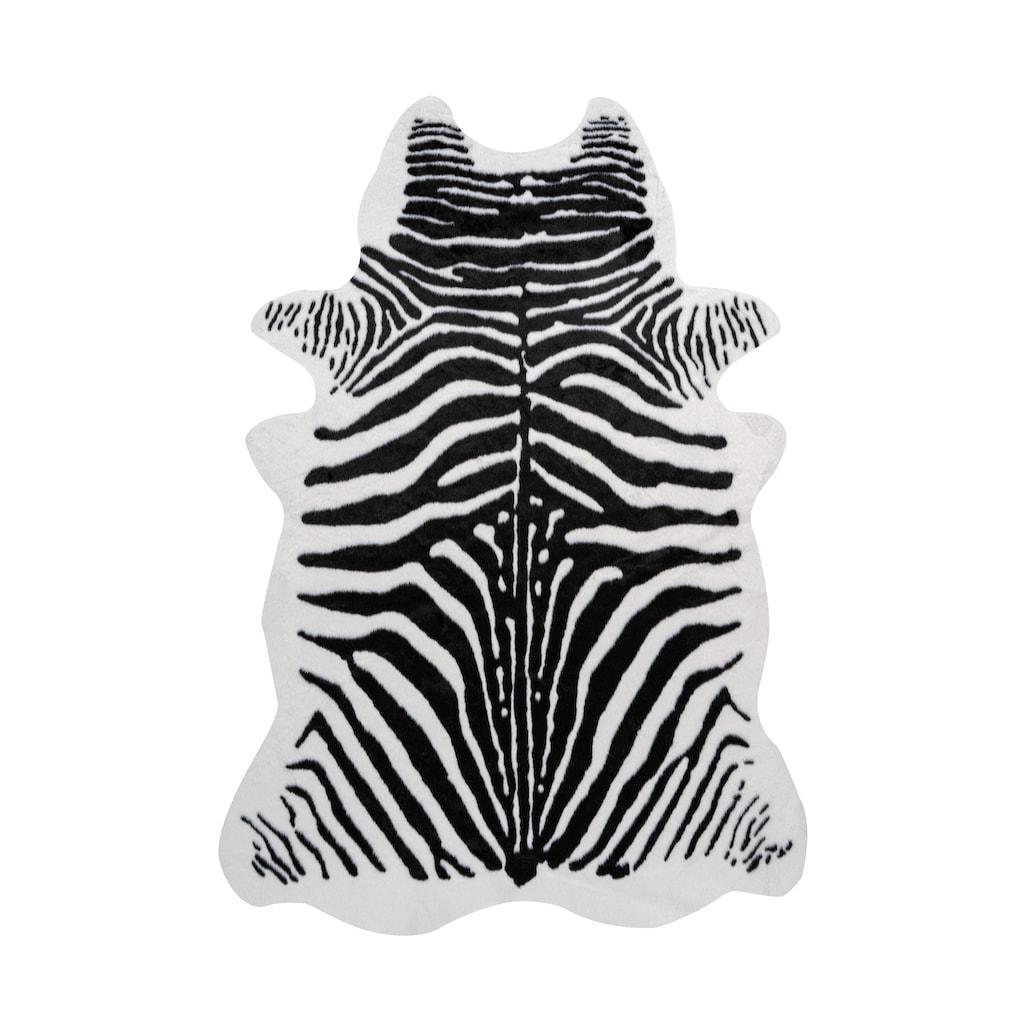 me gusta Fellteppich »Desert 100«, fellförmig, 19 mm Höhe, Kunstfell, Zebra Design, Wohnzimmer