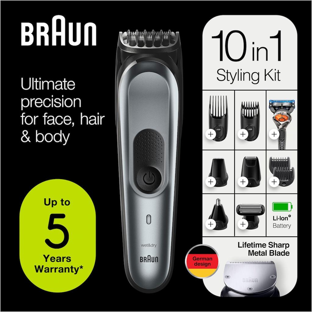 Braun Multifunktionstrimmer »10-in-1 Multi-Grooming-Kit 7 MGK7221«, Herren-Barttrimmer, Bodygrooming-Set und Haarschneider