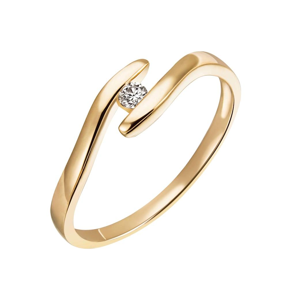 Firetti Diamantring »Verlobung, modern, ca. 1,90 mm breit, Glanz, massiv«, mit Brillant