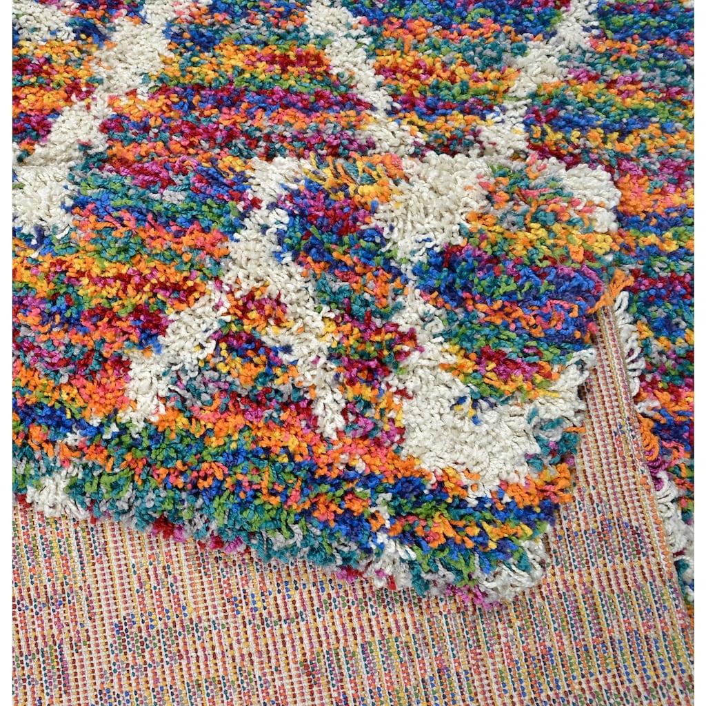 THEKO Hochflor-Teppich »Color Shaggy 621«, rechteckig, 35 mm Höhe, handgewebt, Rauten Design