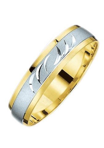 Firetti Trauring mit Gravur »5,0 mm, glanz, sandmatt, Diamantschnitt, bicolor« kaufen