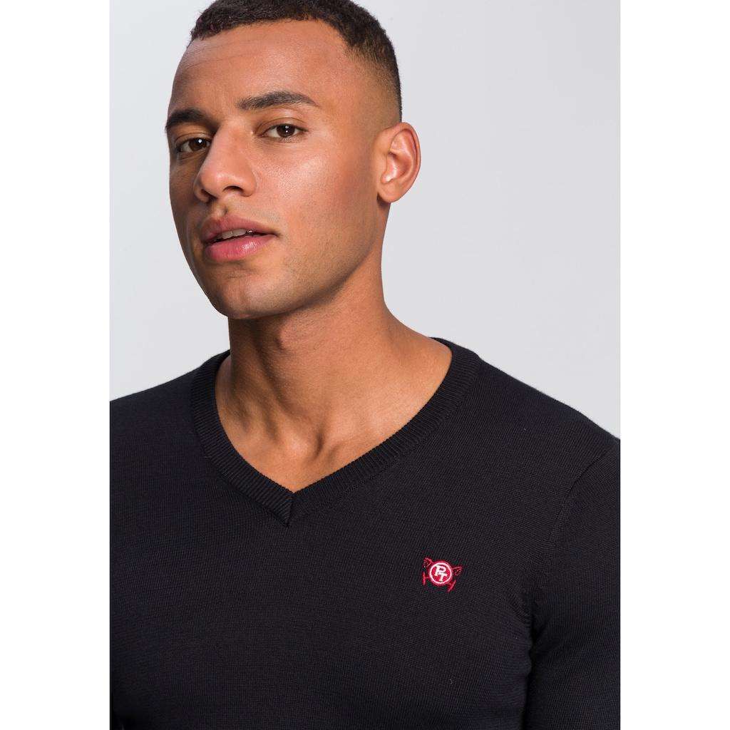 TOM TAILOR Polo Team V-Ausschnitt-Pullover, mit kleiner Logo Stickerei