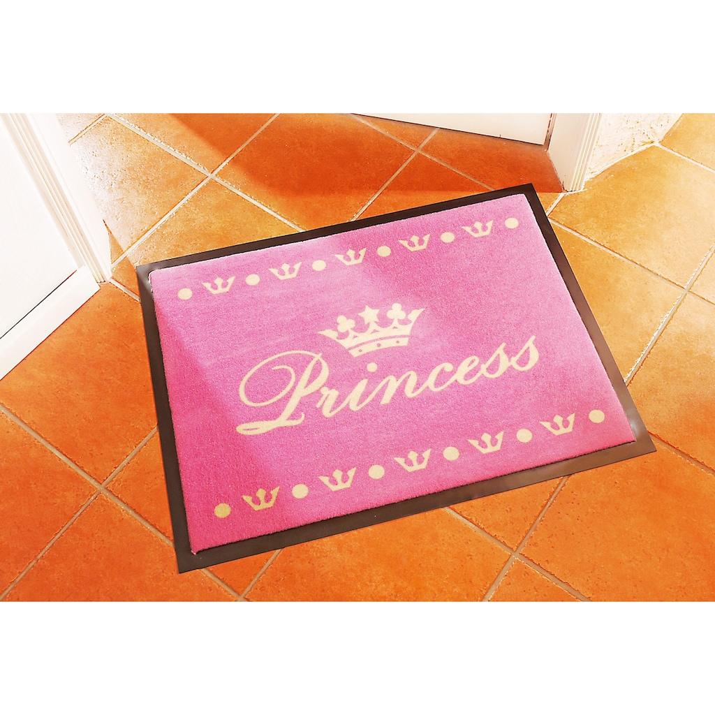 HANSE Home Fußmatte »Princess«, rechteckig, 6 mm Höhe, Schmutzfangmatte, mit Spruch, gummierter Rücken