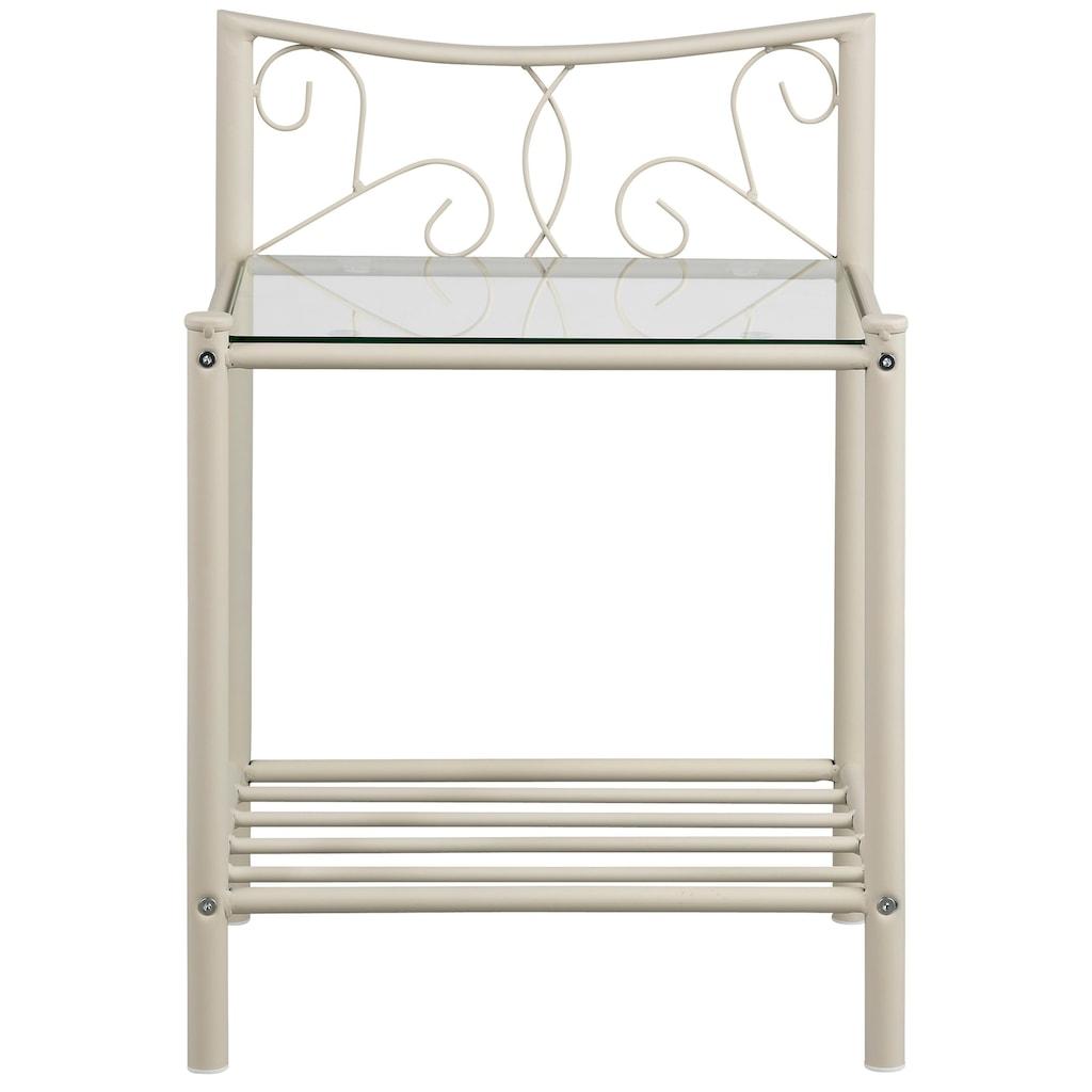 Home affaire Nachttisch »Princess«, aus einem schönen Metallgestell, mit besonders schönen romantischen Verzierungen