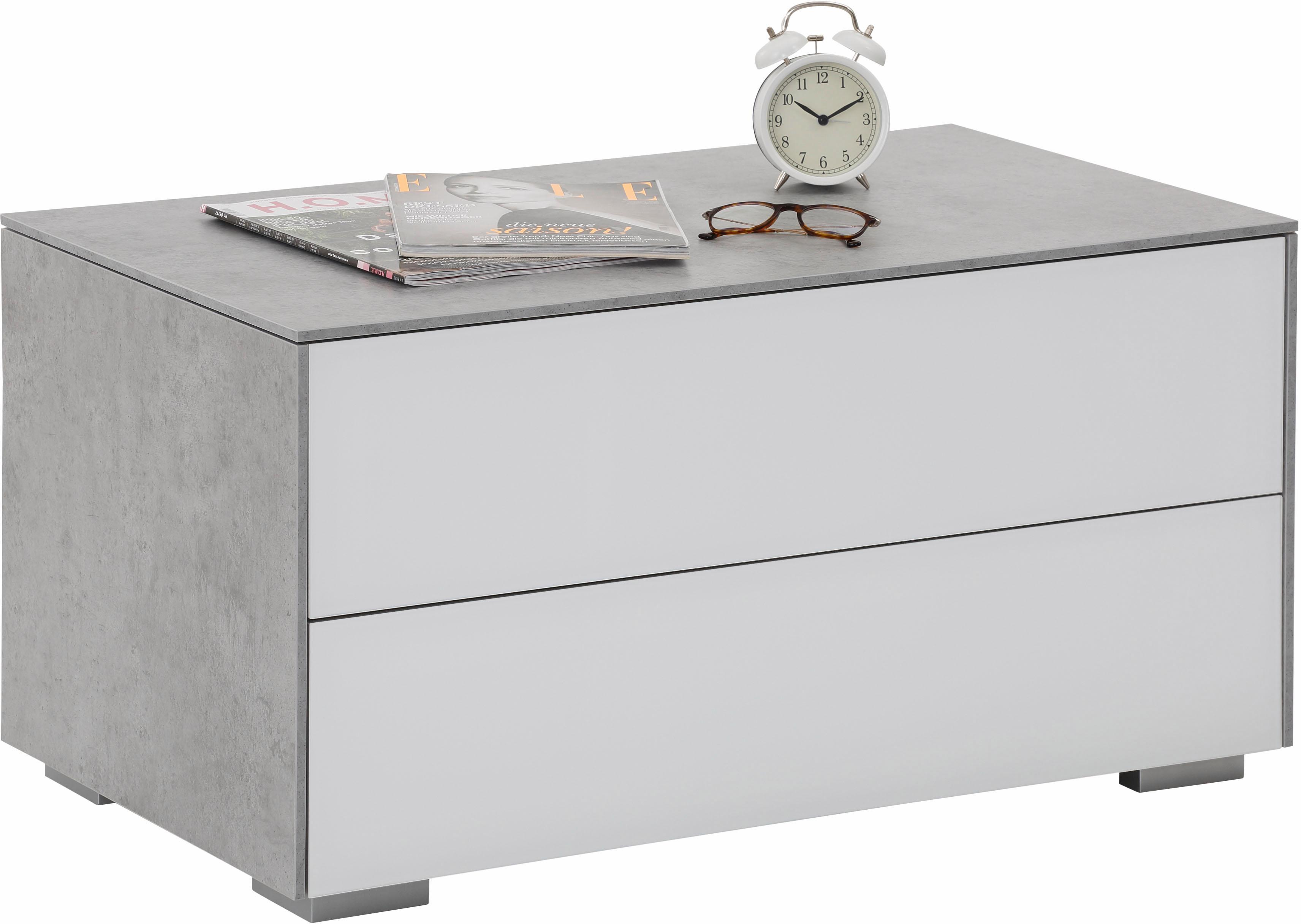 Maja Möbel Nachttisch »Best« mit Melaminbeschichtung und Glasfront, Push-to-open