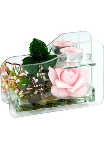 I.GE.A. Kunstpflanze »Rose im Glas mit Teelicht« (Set, 2 Stück) kaufen