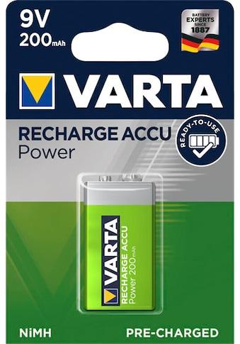 VARTA »RECHARGE ACCU Power vorgeladener 9V NiMH Akku (200mAh)  -  Wiederaufladbar ohne Memory - Effekt  -  Ready to Use Technologie« Batterie (1 Stück) kaufen