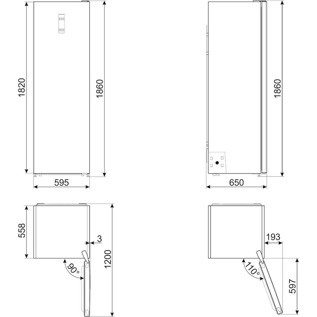 Smeg Gefrierschrank »FF18EN3HX«, 186 cm hoch, 59,5 cm breit
