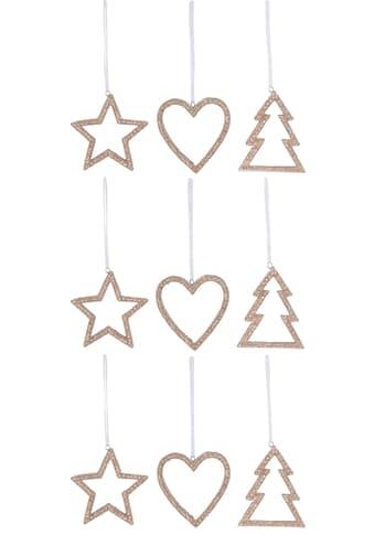 CHRISTMAS GOODS by Inge Dekohänger »Herz  -  Stern  -  Tannenbaum« (Set, 9 Stück) kaufen