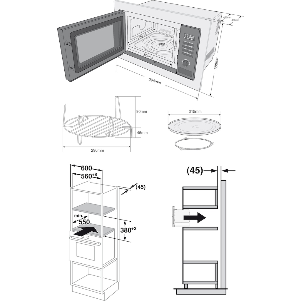 Privileg Einbau-Mikrowelle »AC 925 BVE«, Mikrowelle, 900 W