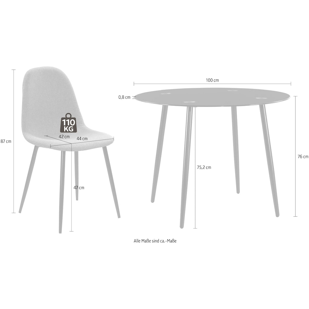 Jockenhöfer Gruppe Essgruppe, praktische, kompakte Esstischgruppe inklusive 4 Stühlen