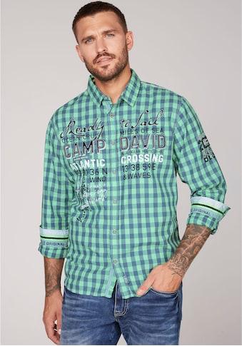 CAMP DAVID Langarmhemd, kariert mit markanten Prints und Applikationen kaufen
