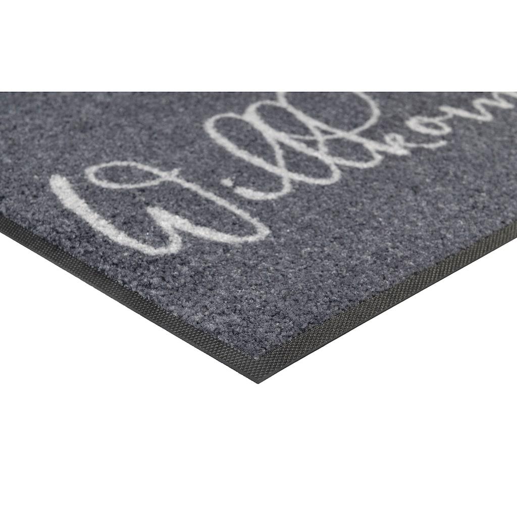 wash+dry by Kleen-Tex Fußmatte »Willkommen Krone«, rechteckig, 7 mm Höhe, Schmutzfangmatte, mit Spruch, In- und Outdoor geeignet, waschbar