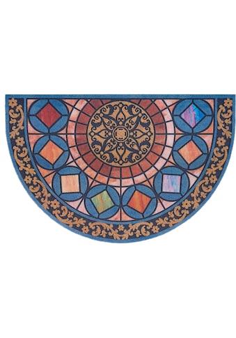 DELAVITA Fußmatte »Mandala halbrund«, halbrund, 6 mm Höhe, Schmutzmatte, In- und... kaufen
