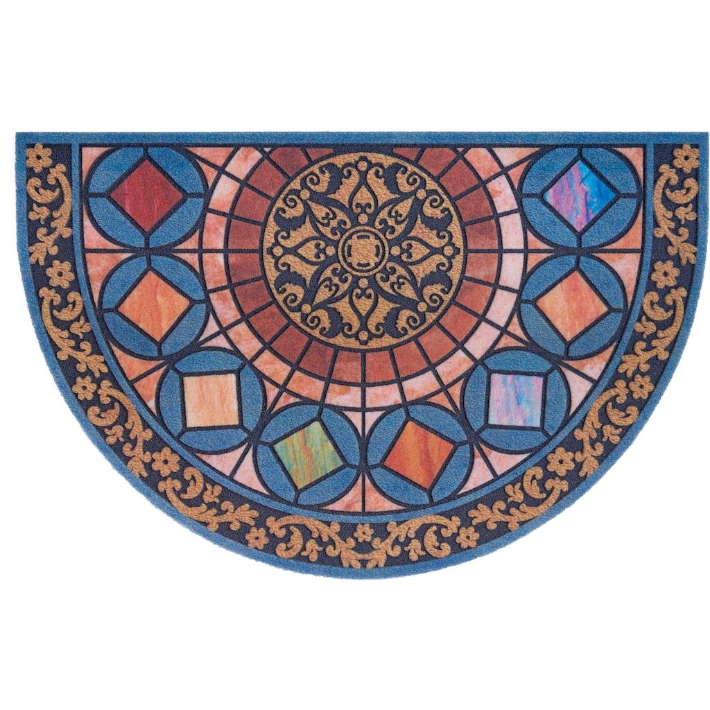 DELAVITA Fußmatte »Mandala halbrund«, halbrund, 6 mm Höhe, Schmutzmatte, In- und Outdoor geeignet