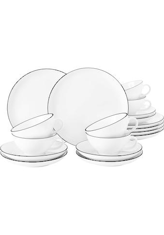 Seltmann Weiden Teeservice »Lido«, (Set, 18 tlg., 6 x Lido Teetasse 0,21 l Black... kaufen