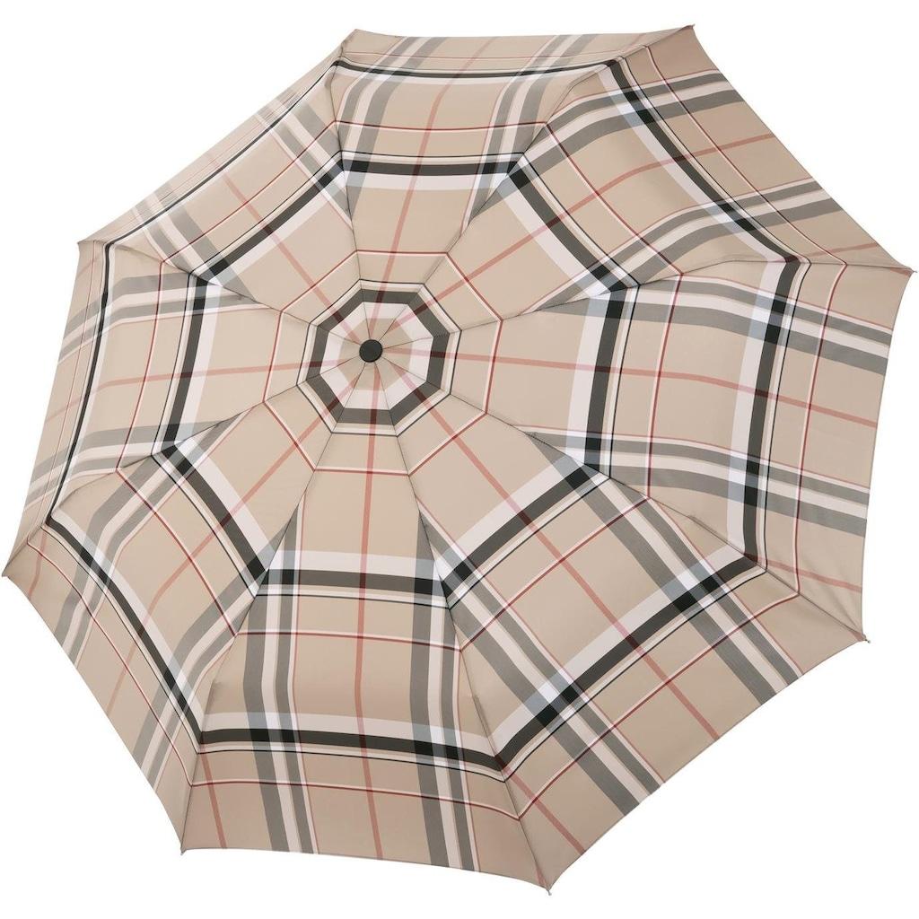 doppler MANUFAKTUR Taschenregenschirm »Serge, karo beige«, handgemachter Manufaktur-Taschenschirm