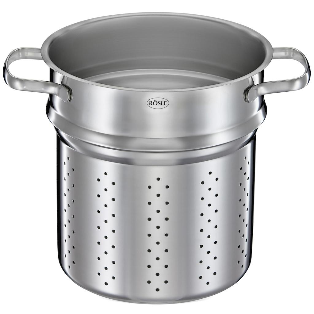 RÖSLE Spaghettitopf »ELEGANCE«, Edelstahl 18/10, (1 tlg.), mit Glasdeckel, Pastaeinsatz und Innenskalierung, 5 Liter, spülmaschinen- und induktionsgeeignet