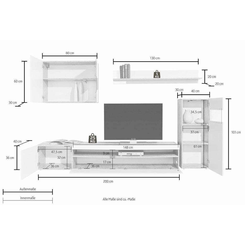 Tecnos Wohnwand, (Set, 4 St.), weiß Korpus/ Front in Hochglanz, ohne Beleuchtung