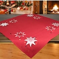 Delindo Lifestyle Mitteldecke »Weihnachtssterne«, (1 St.), Glattes Gewebe, bestickt