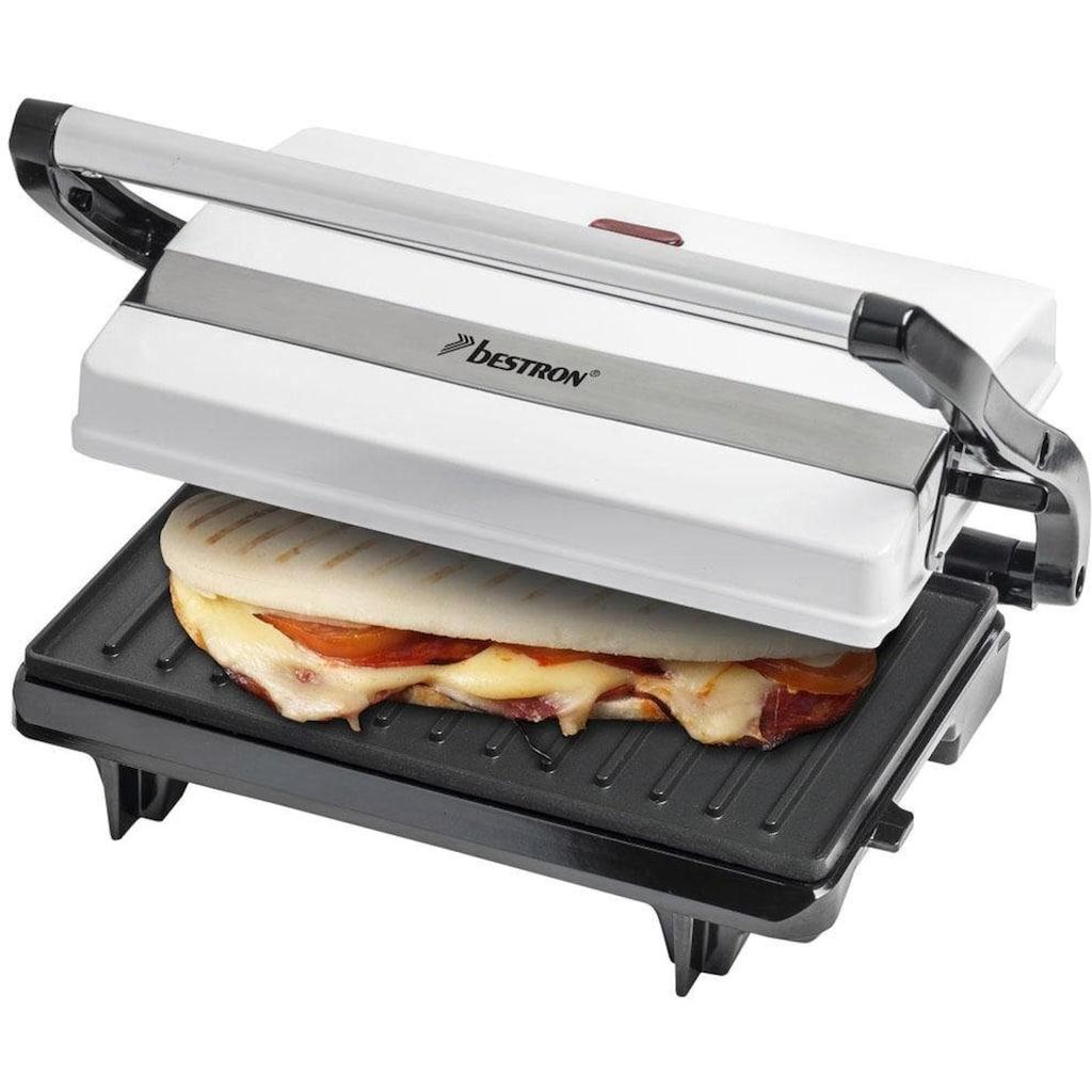 bestron Paninigrill »Viva Italia«, 700 W, auch als Sandwich-/Panini-Kontaktgrill einsetzbar, antihaftbeschichtet, Weiß
