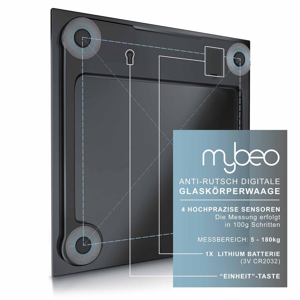 "MyBeo Digitale Körperwaage im Glas Design »3.5"" Display / Anti-Rutsch-Oberfläche / max 180 kg«"