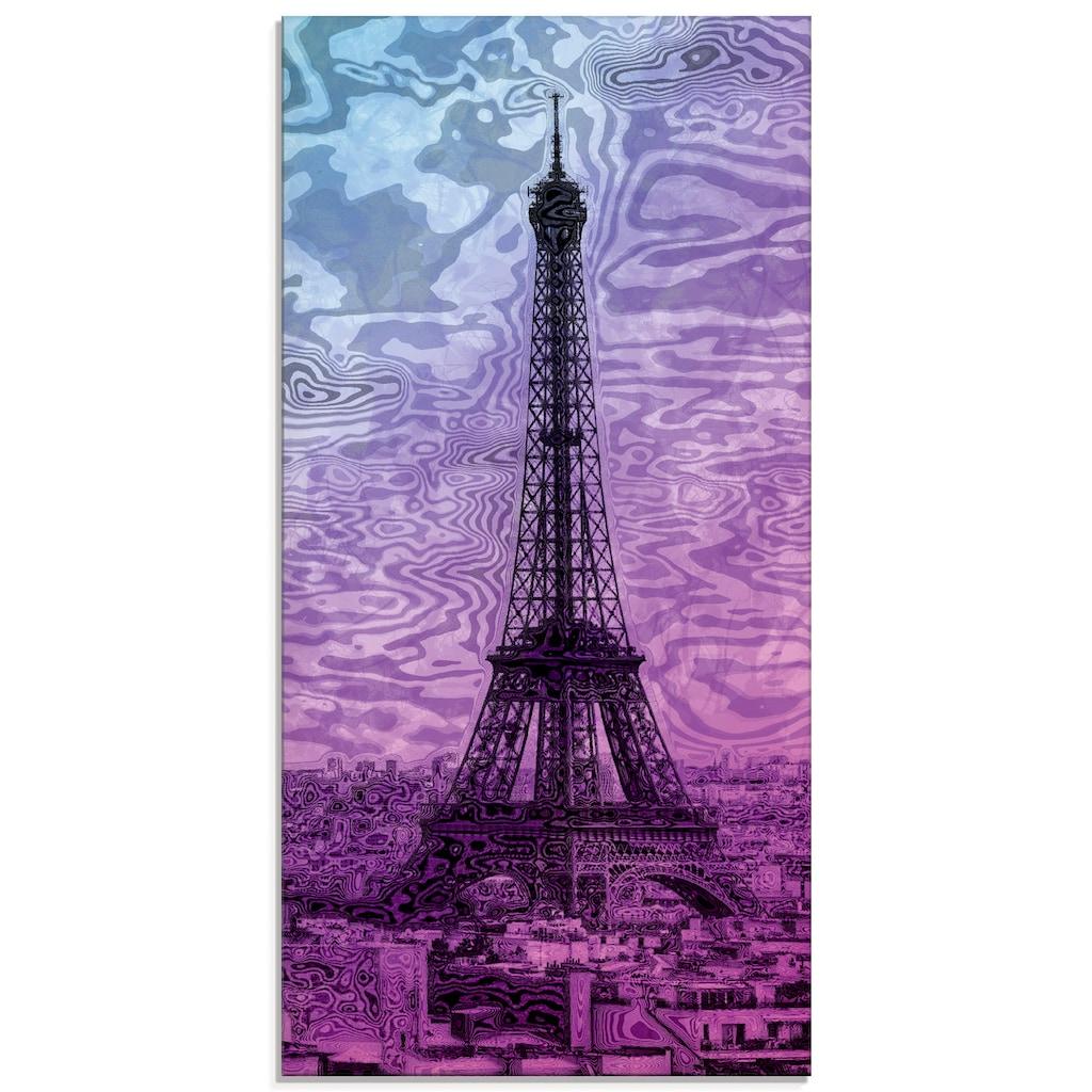 Artland Glasbild »Paris Eiffelturm Lila/Blau«, Gebäude, (1 St.)