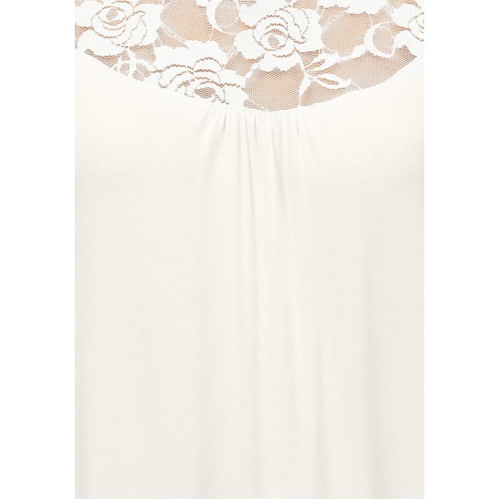 Cybèle Nachthemd, mit Spitze an Ärmeln und Ausschnitt