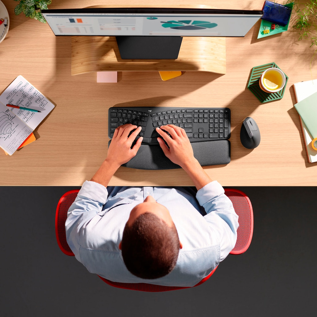 Logitech ergonomische Tastatur »ERGO K860«, (ergonomische Form-Handgelenkauflage-ausklappbare Füße)