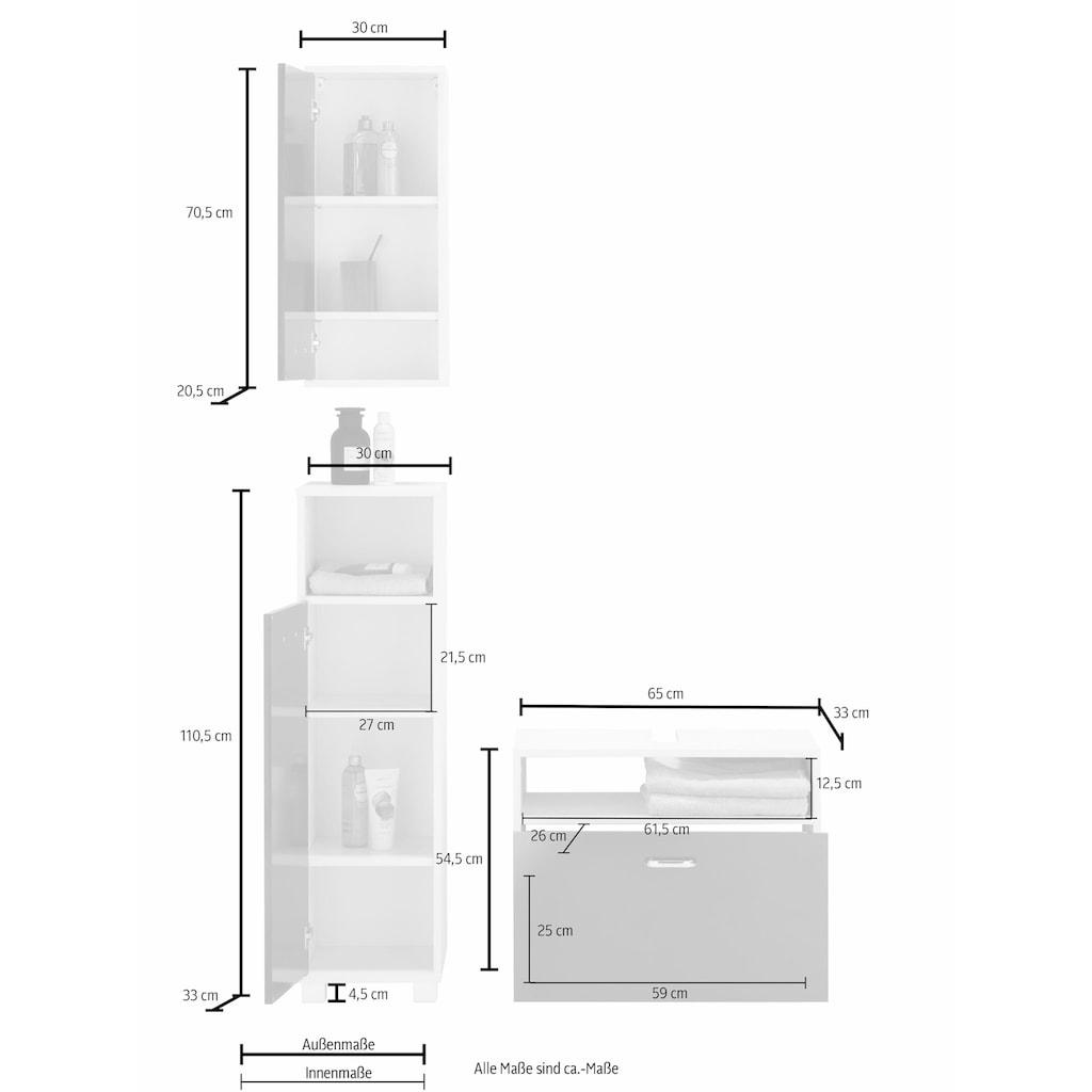 Schildmeyer Badmöbel-Set »Colli«, (Set, 3 St.), aus Hochschrank, Waschbeckenunterschrank und Hängeschrank, Badezimmerschränke mit Metallgriffen und viel Stauraum