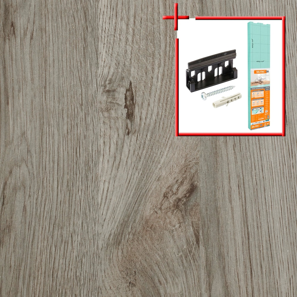 BODENMEISTER Spar-Set: Laminat »Schiffsboden Eiche hell-grau«, 1376 x 193 mm, Stärke: 7mm