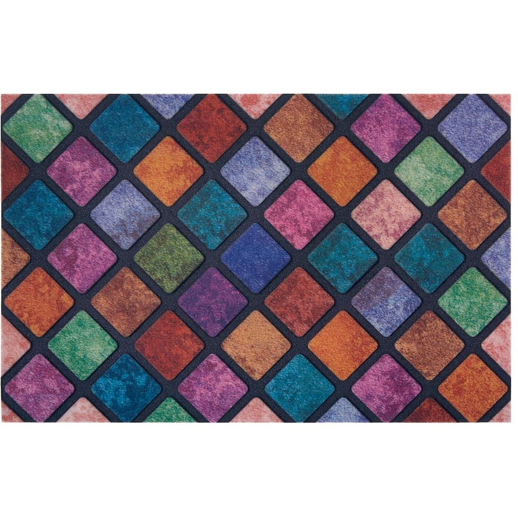 my home Fußmatte »Caro«, rechteckig, 6 mm Höhe, Schmutzfangmatte, In- und Outdoor geeignet