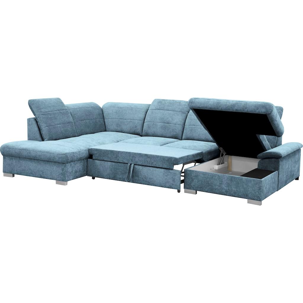 mokebo Wohnlandschaft »Kordula«, Sofa in U-Form mit Schlaffunktion & Bettkasten, Schlafcouch mit Sitztiefenverstellung & verstellbaren Kopfteilen