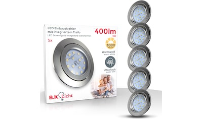 B.K.Licht LED Einbauleuchte, LED-Board, 5 St., Warmweiß, LED Einbauspots Einbaustrahler ultra flach inkl. 5x 5W 400LM 3000K schwenkbar kaufen