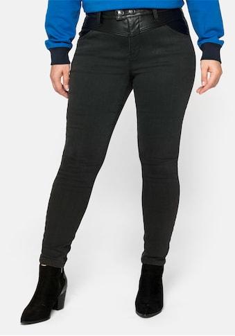 Sheego Stretch-Jeans, mit Lederoptikeinsatz kaufen
