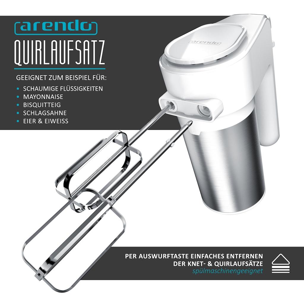 Arendo Handmixer »inkl. 2 x Quirle und 2 x Knethaken aus Edelstahl«, 400 W, 400W