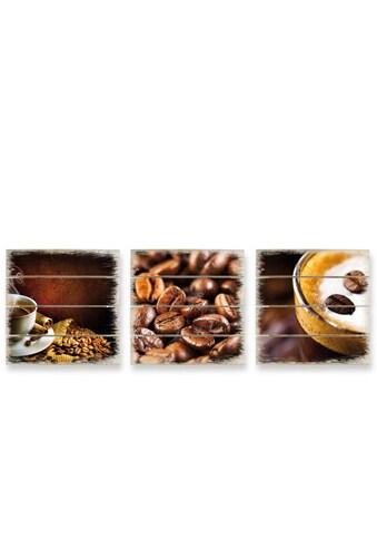 Wall-Art Mehrteilige Bilder »Holzbild Set Kaffee Coffee«, (Set, 3 St.) kaufen
