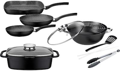GSW Topf-Set »Gourmet Granit«, Aluminiumguss, (Set, 7 tlg., (3 Pfannen, 1 Bräter, 1 Multi-Wok, 1 Kochzange, 1 Pfannenwender)), Induktion kaufen