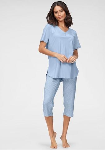 Schiesser Pyjama, mit Faltenverarbeitung am Ausschnitt und gemusterter Hose kaufen